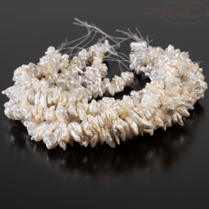 Perle Keshi d'acqua dolce di grado AA, bianco crema, circa 10-11 mm, 1 capo