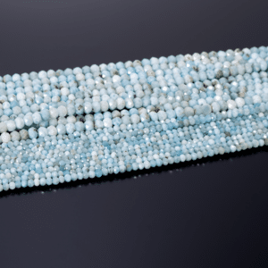 Larimar Rondelle facettiert meerblau ca. 2×3 und 3x5mm, 1 Strang