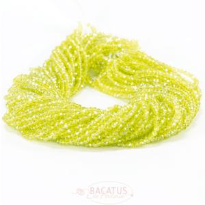 Kristallperlen Rondelle facettiert lemon 3 x 4 mm, 1 Strang