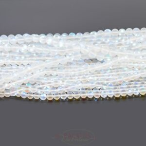 Bergkristall Kugel matt weiß AB-Schimmer ca. 6 und 8mm, 1 Strang