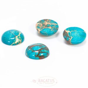 Impression jasper cabochon turquoise 25 mm, 1 piece