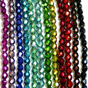 Glasschliffperlen facettiert 3 – 4 mm Heavy Metal Farben, 1 Strang