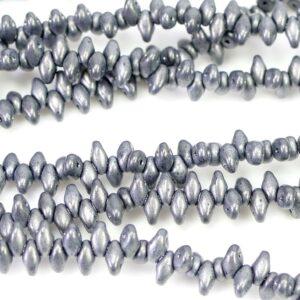 SuperDuo Beads Twin 2,5×5 mm Grey Mat (19), 1 Strang