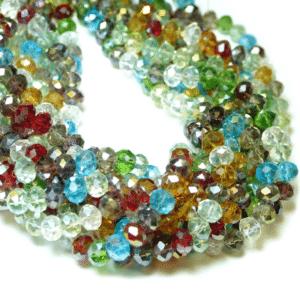 Kristallglasperlen Rondelle facettiert bunt 8×6 mm, 1 Strang