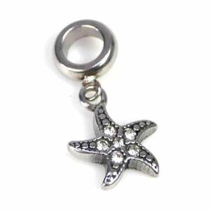 Pendentif grand trou étoile de mer acier inoxydable 20×11 mm