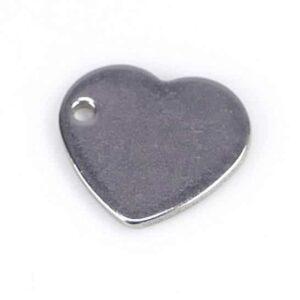 Anhänger Herz flach Edelstahl 10×11 mm 4 Stück