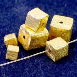 Cubo argento 925 spazzolato * placcato oro * Ø 4 – 8 mm