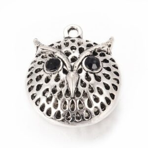 Pendant owl metal, silver / rhinestones 30×25 mm