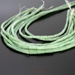 Aventurine tubes glossy green approx 4x13mm, 1 strand
