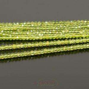 Rondelle di peridoto sfaccettate 2,5×4 mm circa, 1 capo