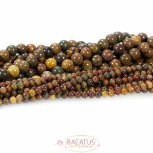 Sfera di diaspro color marrone brillante circa 4 e 8 mm, 1 capo