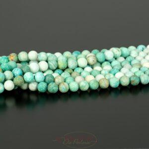 Sfera di amazzonite verde opaco bianco circa 8 mm, 1 capo