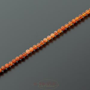 Feuerachat Kugel glanz rot-orange ca. 4mm, kurzer Strang