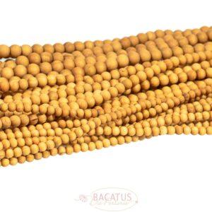 Sandelholz Kugel hell matt goldbraun 6 – 10mm, 1 Strang