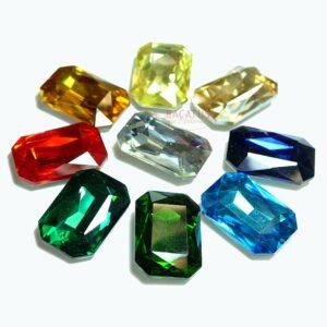 Kristall Octagon Rechteck 27x18x4 mm Farbauswahl