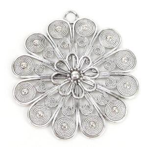 Ciondolo in metallo filigrana fiore 64×60 mm