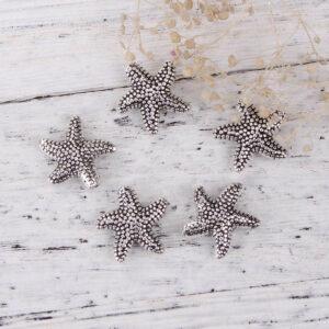 Perline di metallo stelle marine pois 14 mm, 3 pezzi