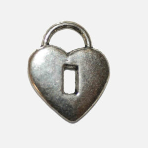 Ciondoli in metallo lucchetto a cuore 16×13 mm, 4 pezzi