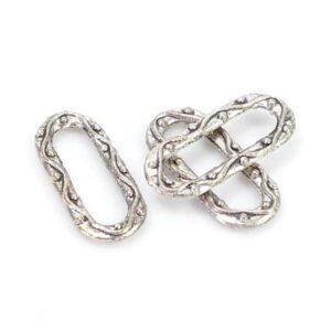 Anello in metallo ovale 21×9 mm, 3 pezzi