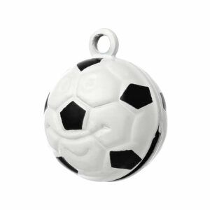 Pendentif breloque en métal cloche de football noir/blanc 21×17 mm