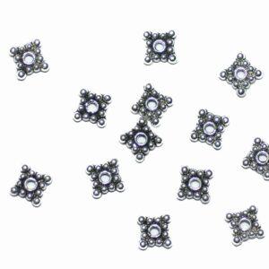 Rondelle d'entretoise à billes en métal carré pointillé 6 mm, 20 pièces