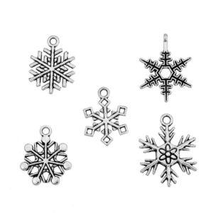 Pendentifs en métal charm flocons de neige mix, 50 pièces