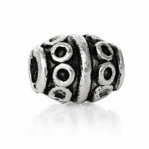 Perle en métal motif cercle olive 8×6 mm, 5 pièces