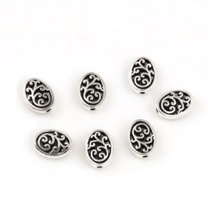 Perle en métal vrille ovale 12×10 mm, 5 pièces