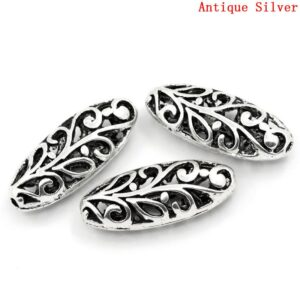 Metal bead olive filigree 23×10 mm
