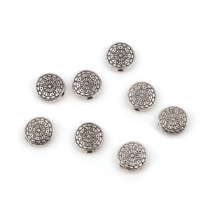 Perlina in metallo Fleur disco bombato 10 mm, 10 pezzi