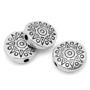 Metal bead star domed disc 10 mm, 10 pieces