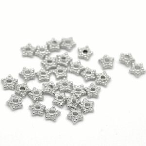 Metal bead spacer star points 6 mm, 20 pieces