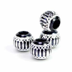Perlina foro grande alluminio nero 12 mm, 10 pezzi