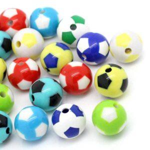 Perle acrylique intercalaire football color mix 20 mm, 4 pièces