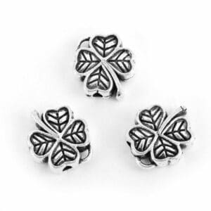 Perle en métal pendentif en métal trèfle à quatre feuilles 12 mm 4x