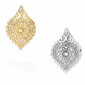 Pendentif oriental coeur métal, or ou argent 58×37 mm
