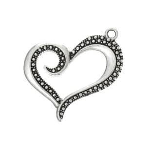 Ciondolo cuore 40 mm metallo, argento 1x