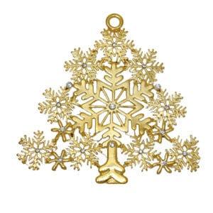 Ciondolo albero di Natale 80×77 mm metallo, argento o oro