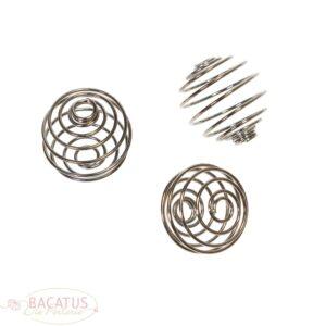 Perle métal spirale anthracite 20 mm, 3 pièces