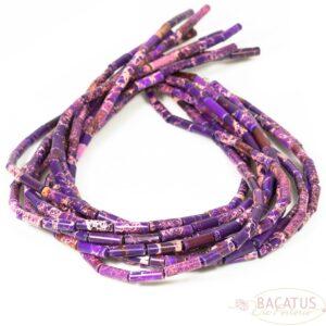 Impression jasper tubes glossy purple approx. 4x13mm, 1 strand