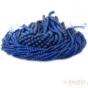 A-grade lapis lazuli plain round glossy 4-8 mm, 1 strand
