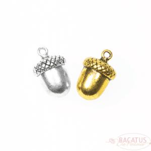 Metallanhänger Eichel silber oder gold 17×11 mm