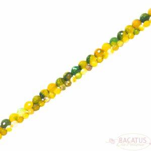 Bandachat Kugel facettiert grün gelb 4 – 6 mm, 1 Strang