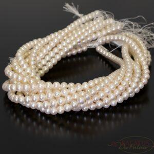 "Perle d'acqua dolce grado A ""quasi tonde"" bianco crema 7-8 mm, 1 capo"
