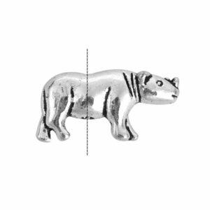 Metallperle Nashorn 19×10 mm, 4 Stück