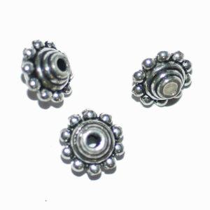 Metallperle Spacer gepunktet 7×10 mm, 6 Stück
