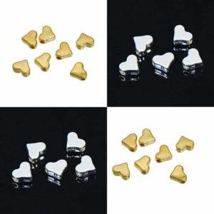 Metallperle Herz silber oder gold 6×7 mm, 4 Stück