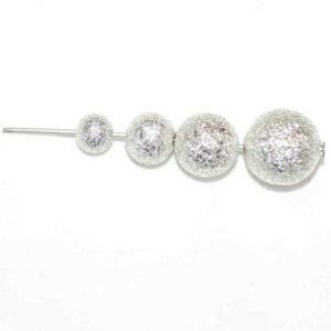 Perles en métal pailleté argent 6-10 mm, 5 pièces