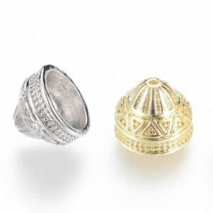 Capuchon perle Inka 9.5×12 mm métal, or ou argent 1x