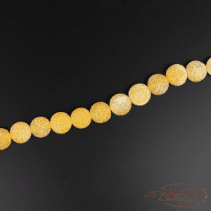 Agate plain round cracked yellow 8 and 12mm, 1 strand